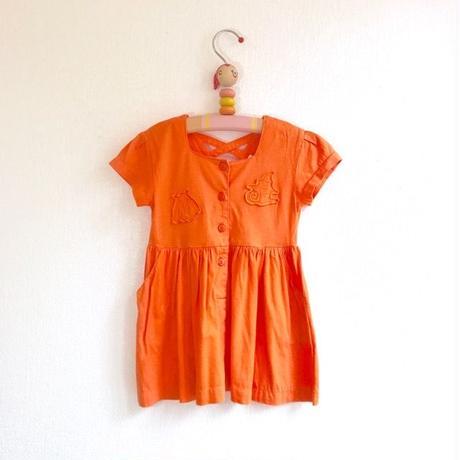 【used100cm】オレンジ貝殻ワンピース