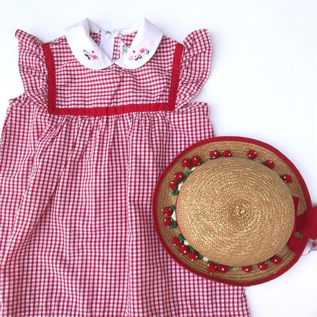 【vintage100cm】赤チェック チュニック