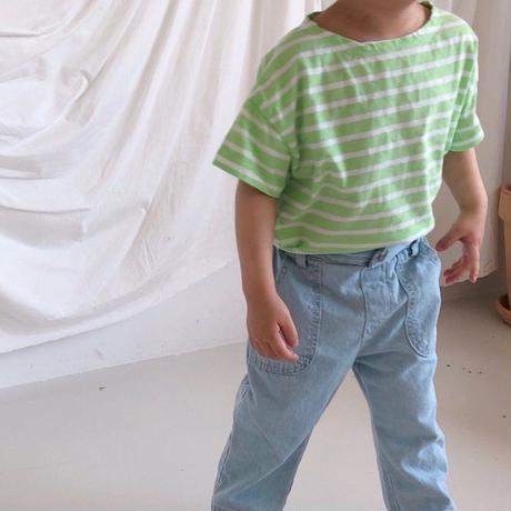 <即納>color stripe t(green m,L)