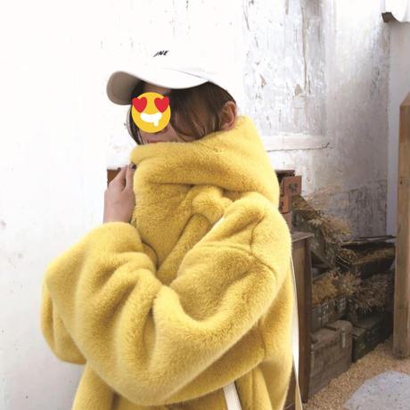 フード付きフェイクファーカラーオーバーコート