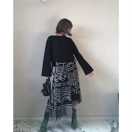 アシンメトリーチュールプリーツスカート