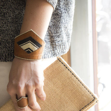 Leather & Beads bracelet camel vol.1