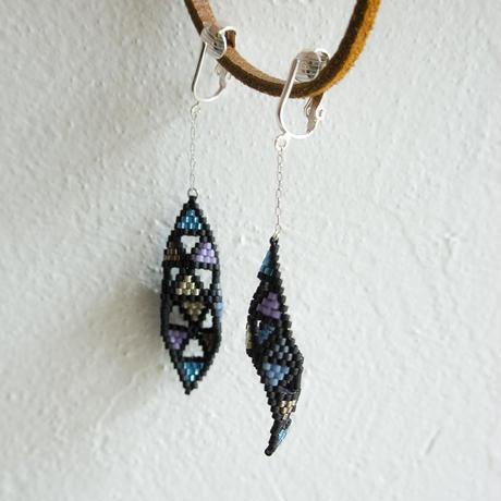 Beads earring blue × purple × silver vol.1