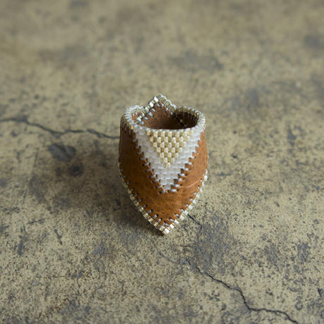 Leather & Beads ring brown vol.3