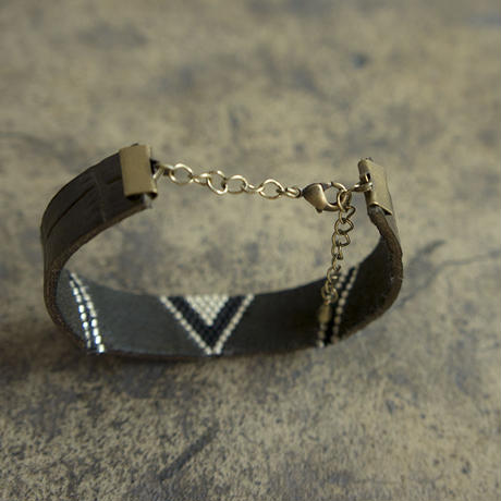Leather & Beads bracelet slim khaki vol.1