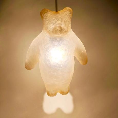 Aquvii×KYOTAROコラボレーション つり型クマの立体オブジェ 合成樹脂FRP手作りオブジェ