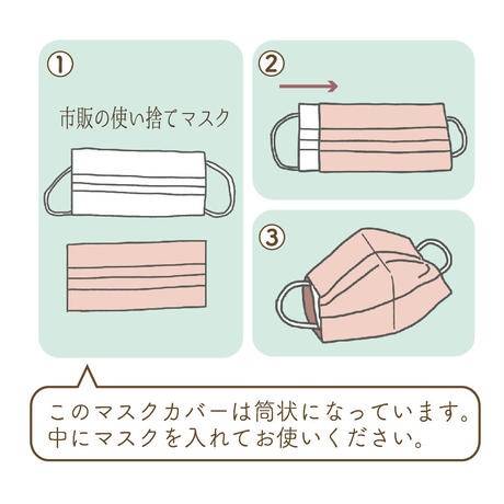麻素材・洗えるマスクカバー(2枚セット)