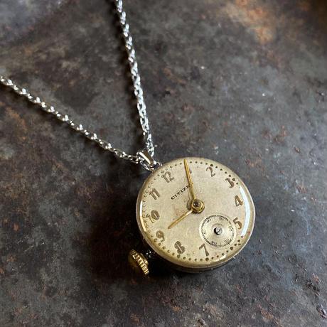 antique dial&movement reversible necklace 【K0571】