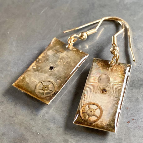 antique dial hook pierced earrings K18【K0505】