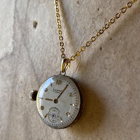 antique dial&copper movement  reversible necklace【K0575】