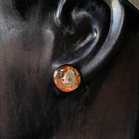 CLOPOA BLACK  standard pierced earrings orange【K0580】
