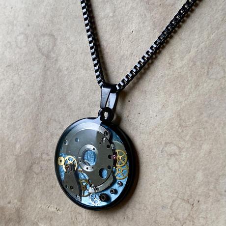 CLOPOA BLACK standard necklace solid blue【K0598】