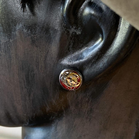 CLOPOA petit pierced earrings bordeaux【K0574】