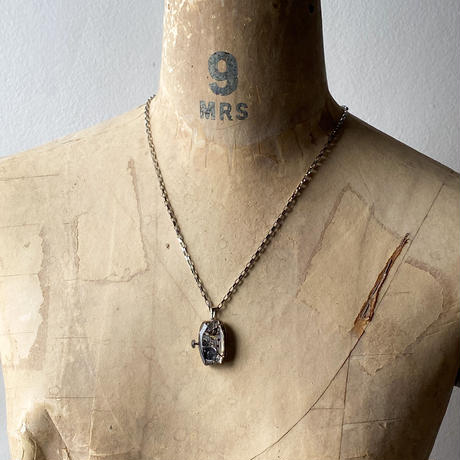 antique square dial&movement reversible necklace【K0533】