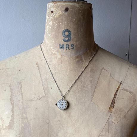 antique dial&movement reversible necklace【K0558】