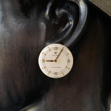 "antique round dial pierced earrings ""CITIZEN""【K0579】"