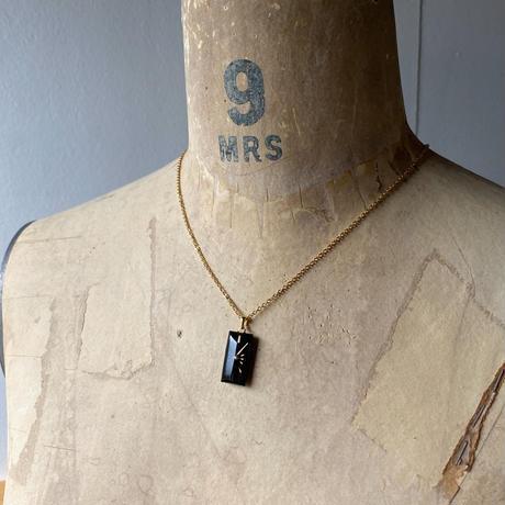 antique black square dial necklace K18GP【K0578】