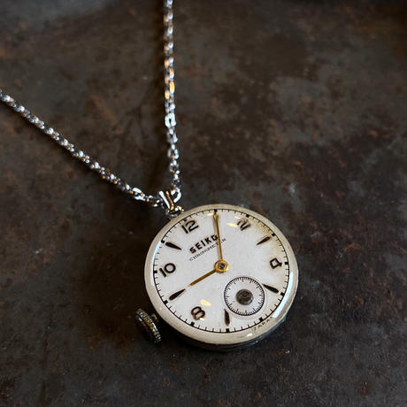 antique dial&movement reversible necklace【K0558】