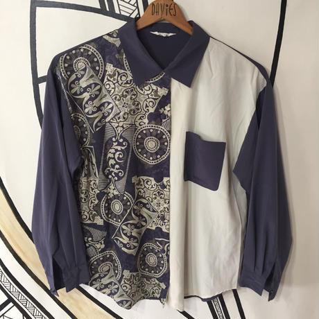 【奇抜】レトロ パープル 幾何学模様 柄シャツ