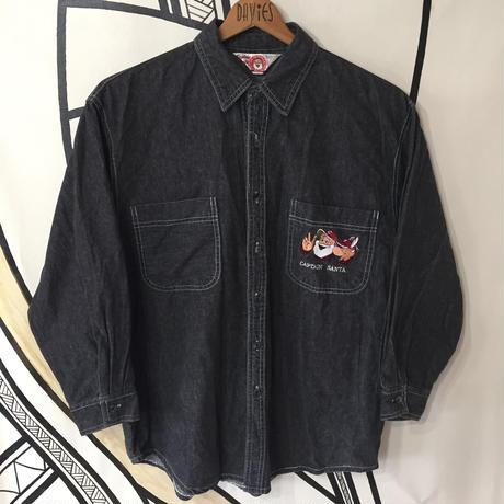 【90s】キャプテンサンタ デカ刺繍 ブラック デニムシャツ