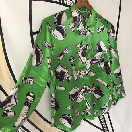【スペシャル】レトロ コスメ 総柄 日本製 柄シャツ