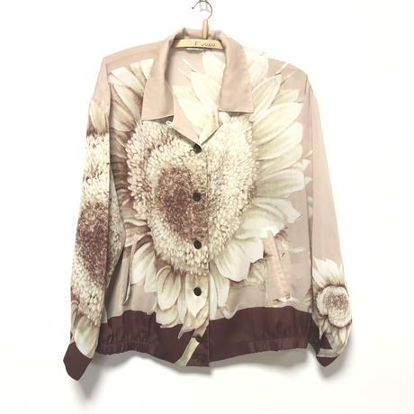 【希少】レトロセピアヒマワリ柄 ポケット付き ブルゾン柄シャツ