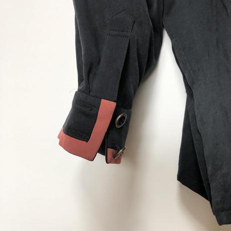 【mode】隠れボタン2カラーラインプレーンベロア風シャツ