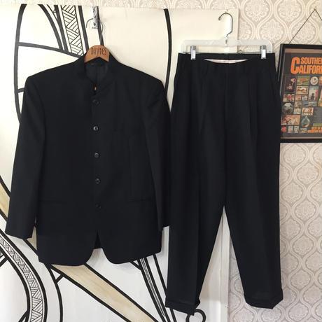 【人気】スタンドカラーブラックチャイナスーツセットアップ