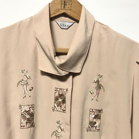 【日本製】レトロレディトランプ刺繍 デザイン 変形 シャツ