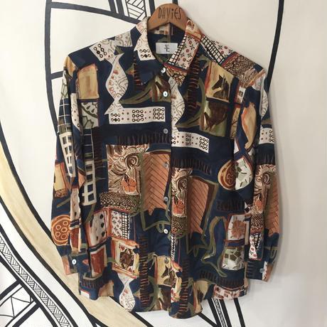 【個性的】ヴィンテージ トランプ デザイン 日本製 柄シャツ