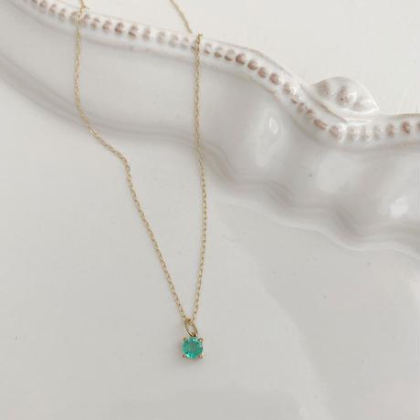 [即納][K10] 5月誕生石/宝石質エメラルドの1粒ネックレス