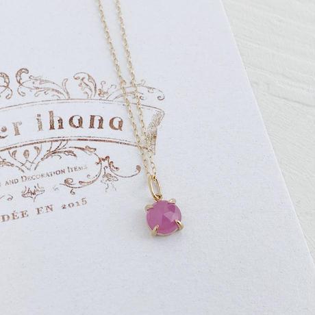 [K10]9月誕生石ピンクサファイアの1粒ネックレス
