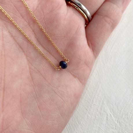 14kgf/9月誕生石小さな「サファイヤ」1粒ネックレス