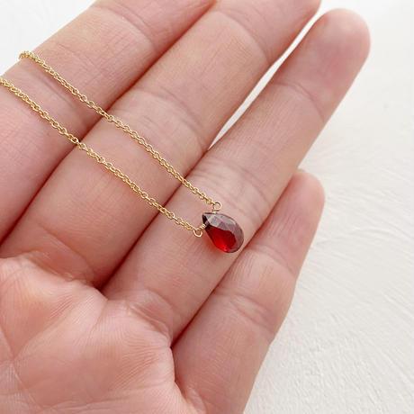 [即納][14kgf] 1月誕生石/ガーネットの1粒ネックレス