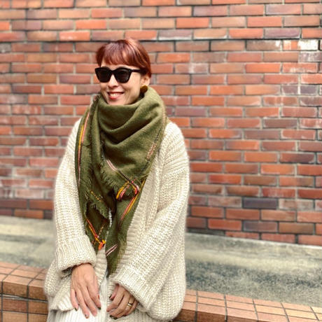 Big square scarf(KHAKI)