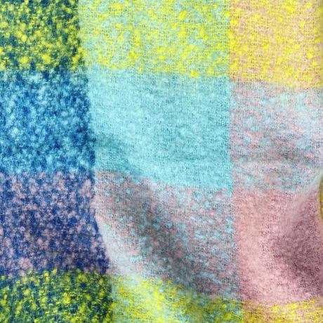 check  fringe scarf(multi color yellow)