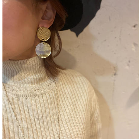 Discs Of Metal And Shell Earrings