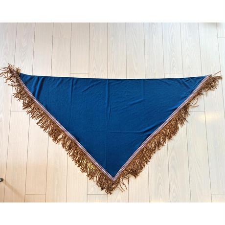 Triangle Stole with fringe(Indigo)