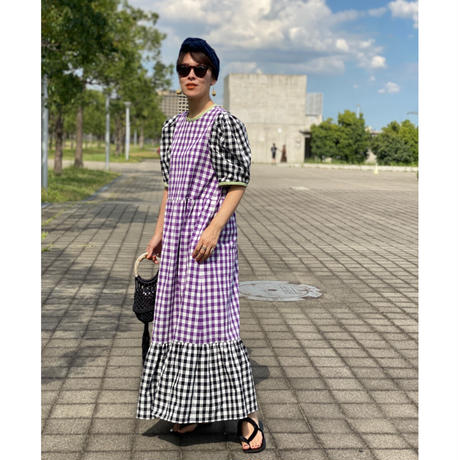 【LONGBEACH】bi-color check dress(purple✖black)