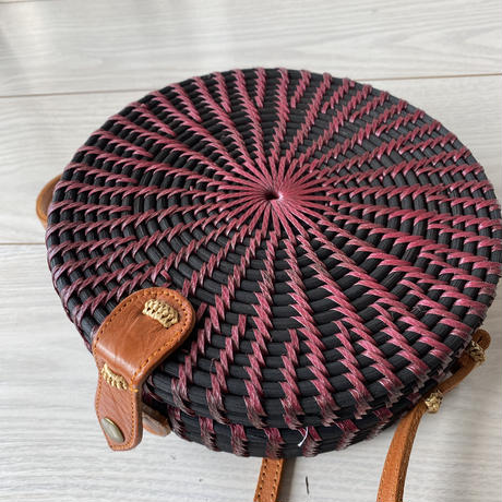 Bicolor Rattan Round Bag  ( Bordeaux ✖️ BLACK )