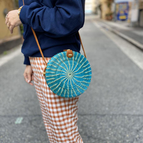 Bicolor Rattan Round Bag (cobalt blue)
