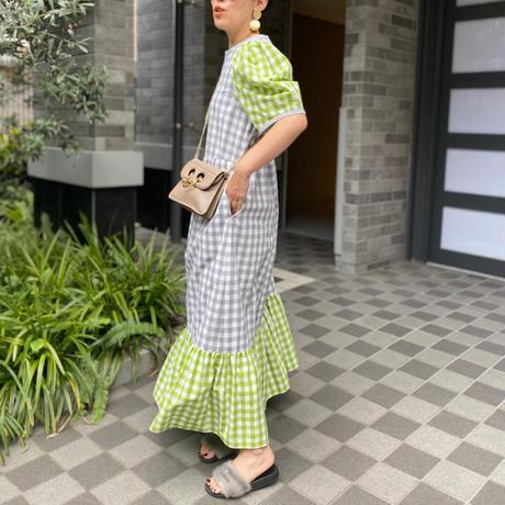 【LONGBEACH】stripe dress(Gray✖Green)