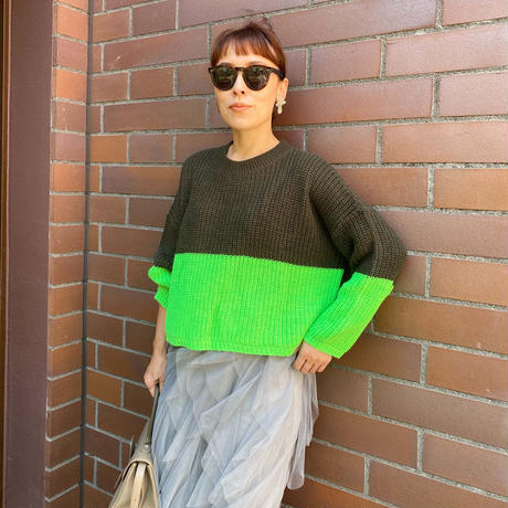 bicolor  deformed sweater(KHAKI✖GREEN)