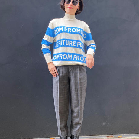 FROM FUTURE BORDER LOGO KNIT(WH×BL)
