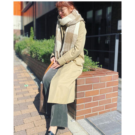 check fringe scarf (ecru)