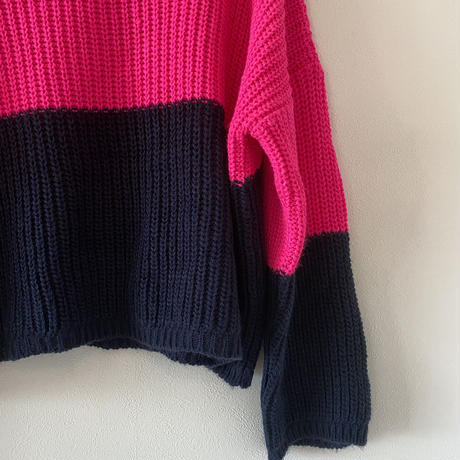bicolor  deformed sweater(PINK✖NAVY)