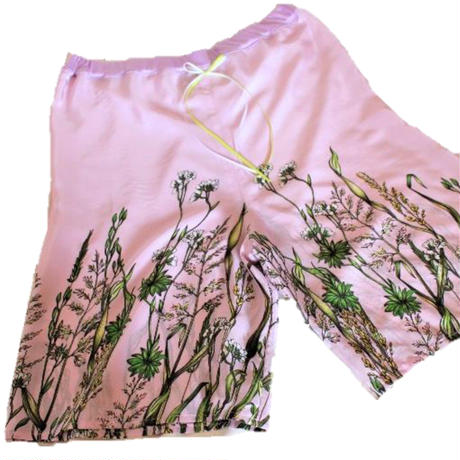 シルクのフラワープリント パジャマ ピンク №418096