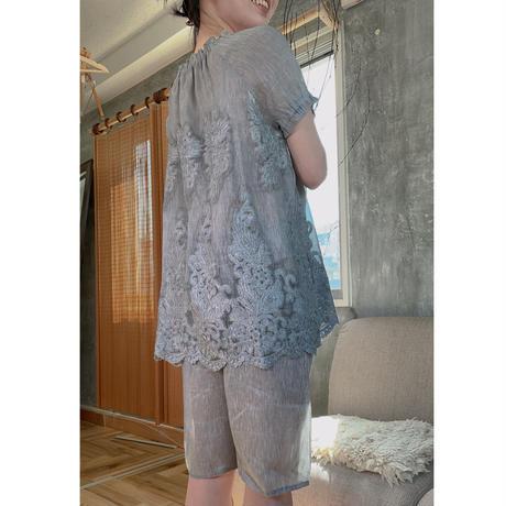 パジャマ/刺繍/ナイティー/2ピース/ 麻70% SILK30% №418097 418098