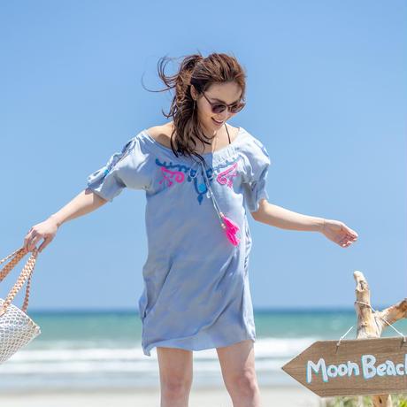 ◆Mon ange Louise◆ EMBROIDERY CALOU DRESS ビーチドレス ワンピース (grey)