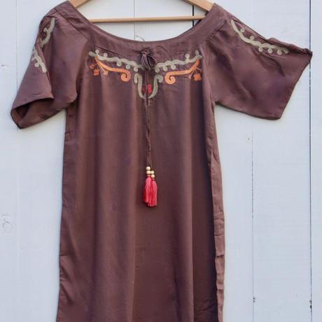 ◆Mon ange Louise◆ EMBROIDERY CALOU DRESS ビーチドレス ワンピース (choco)